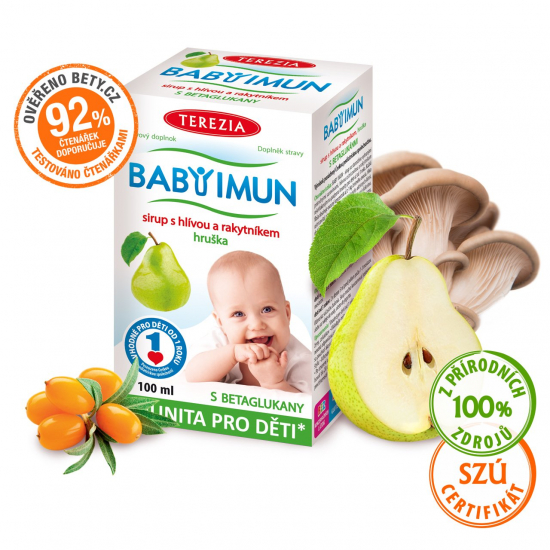 TEREZIA BABY IMUN sirup s hlívou a rakytníkem - hruška 100 ml (exp. 28.2.2022)
