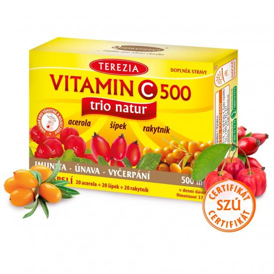 TEREZIA Vitamin C trio natur 60 kapslí (exp. 30.9.2022)